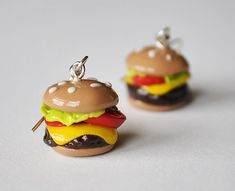 Polymer Clay Cheeseburger Earrings by ImprssvlyPredictable on Etsy, $15.00