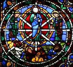 Chartres Cathedral Stained Glass  The Transfiguration, with Moses and Elijah appearing next to Christ and the apostles Peter, James and John watching in awe from below (Matthew 17:1-9, Mark 9:2-8, Luke 9:28-36). Detail of the Passion Window, the left lancet window (as seen from the inside) beneath the west rose. One of only four windows dating from before 1150, it depicts scenes from the end of Christ's life, his passion and his resurrection.