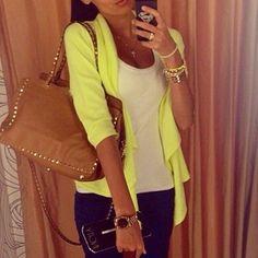 ♥ Yellow cardigan sweater