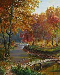 Art Brillant Gallery Tokyo: Lakeside Cabin - Fantasy Autumn Landscape by David. Pictures To Paint, Nature Pictures, Art Pictures, Watercolor Landscape, Landscape Art, Landscape Paintings, Beautiful Paintings, Beautiful Landscapes, Autumn Scenes