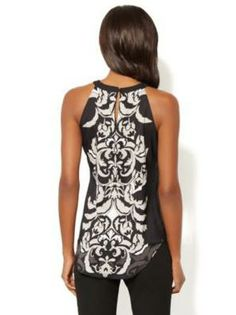 Scroll-Print Halter Top- New York and Company