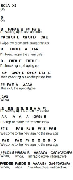 Flute Sheet Music: Radioactive by Imagine Dragons (works on piano, too! Music Chords, Violin Music, Piano Songs, Saxophone, Trombone, Piano Chord, Bass Clarinet, Bassoon, I Love Music