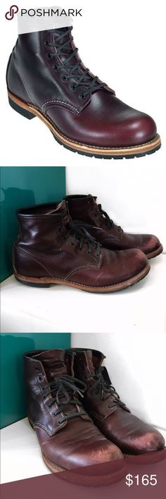 Men's Redwing Heritage 9011 Boots STYLE NO. 9011 : BECKMAN ROUND Part of the Beckman collection, the 9011 is a 6-Inch, round toe style boot made from exclusive Black Cherry Featherstone dress leather. Classic in look, a bit of polish keeps them looking sharp. Leather: Black Cherry Featherstone Leather Outsole: Roccia Insole: Leather •gently used.. a little polish and they will be in fantastic shape •made in the US•size 11 D •soles are in fantastic shape •a little bit of scuffing on the toe…