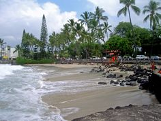 La'aloa Beach Park, Kailua Kona, Big Island of Hawaii. Also known as Magic Sands & Disappearing Sands due to winter waves occasionally washing all the sand from the beach. The sand always comes back, however. ;)