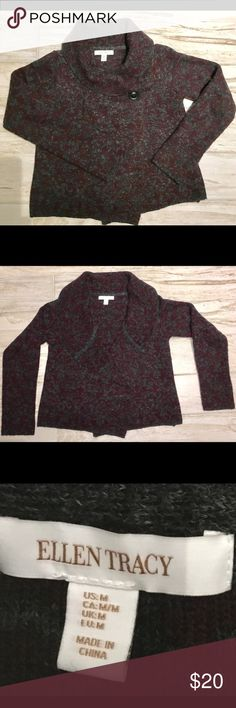 Wool Blend Ellen Tracy Sweater, Medium The colors in this sweater are so beautiful together!! You can wear it either open or closed!  Perfect condition, brand new without tags. Ellen Tracy Sweaters Cardigans
