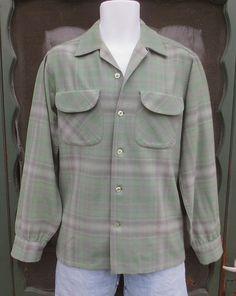 2ad7b65f3f7 Sublime Vintage 1950 s PENDLETON Wool Sage Green  amp  Grey Plaid Shirt  w Flap Pocket