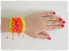 Neon Friendship Bracelet,  Boho Wrap Crochet Bracelet, Neon Wrap Bracelet