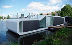 Die niederländischen Architekten +31ARCHITECTS haben ein Hausboot nach neuesten Designmaßstäben fertiggestellt.
