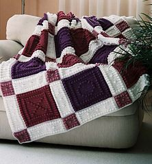 "This crocheted blanket is an original design that is easy to complete. The blanket is made up of squares with X's and O's. The entire blanket requires only three crochet stitches - chain stitch, single crochet and the popcorn stitch. The pattern includes the instructions, a list of materials and the yarn amounts needed for a finished blanket approximately 53"" x 60"". The pattern can be customized to your own color choices."