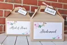 Kraft Gable Box with 6 bridesmaid labels and 6 Groomsman labels PLUS BONUS ~FREE~ set of 12 name tags ---- Please leave names in comments when ordering. I am happy to include maid or matron of honor/best man in place of bridesmaid/groomsman boxes. Just mention in comments when ordering.