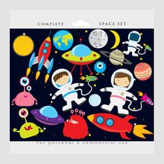 Space clipart - astronaut clip art, UFOs, aliens, spaceships, rockets, planets, Earth, moon, for personal and commercial use by WinchesterLambourne on Etsy https://www.etsy.com/uk/listing/156076065/space-clipart-astronaut-clip-art-ufos