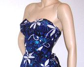 Vintage 1940s 50s ALFRED SHAHEEN Sarong Hawaiian Tiare Tapa Floral Bombshell VLV Rockabilly Pin-up Dress Mad Men Vavoom Like Deadstock new