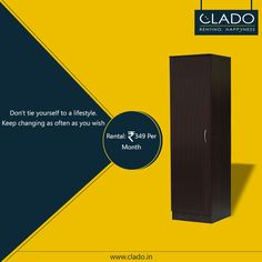 Organize your clothes and other valuables with a ‎Single Door Wardrobe‬.!! Uniquely ‪‎designed‬ and efficiently spaced. http://www.clado.in/furniture ☎ +91-81 30 598959, +91-81 30 598979 #furniture #renting #Clado #bedroom