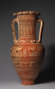 """Dipylon Amphora"" (ca. 8th century BCE), attrib. to Workshop of Athens 894. Greek. Posted on clevelandart.org."