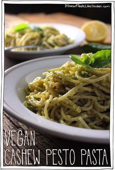 Takes less than 20 minutes to whip up this Vegan Cashew Pesto Pasta, but it will taste like you worked all day in the kitchen. Perfect for the lazy gourmet! #itdoesnttastelikechicken