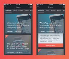 Concept shows teasing an article from the index level Mobile Ui Design, App Design, New Mobile, Mobile App, News Apps, User Experience Design, Ui Design Inspiration, Ui Web, Technology Design