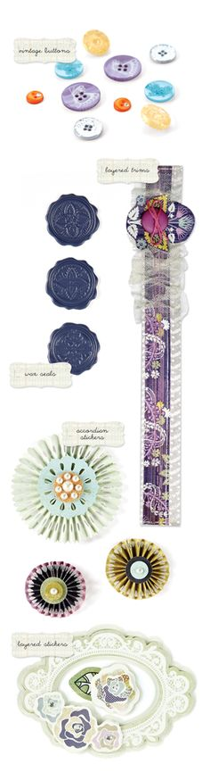I must have these buttons from Basic Grey's Plumeria line!