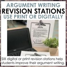 These six digital or print argument writing revision stations will get your kids moving, engaged, and making meaningful changes to their own writing independently. Includes six ten minute stations for writing stronger introductions, organizing an argument essay, analyzing quotes, evaluating evidence... Argumentative Writing, Narrative Writing, Informational Writing, 7th Grade Ela, Reading Task Cards, Teacher Conferences, Middle School Ela, Teacher Cards, Classroom Tools