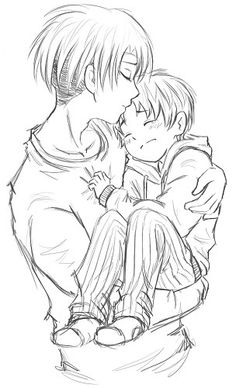 """Attack on Titan ~~ """"Hush, little baby, don't you cry..."""" :: Levi and little Eren"""