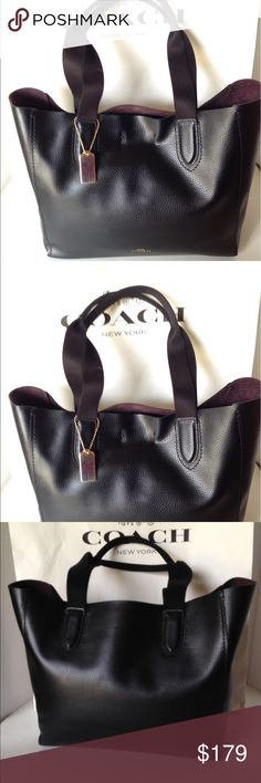 """NWT Coach Derby Tote Pebbled Leather/Black New with tags Coach pebbled leather Derby tote/black. Open top with magnetic snap closure. Oxblood interior. Inside zippered pocket. Handles with 8 3/4"""" drop. Gold Coach hangtag and hardware. F58860.Really cute! No Trades Coach Bags Totes"""
