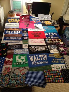 My 2nd Quilt Project - A T-Shirt Memory Quilt for my oldest daughter Christine made from saved t-shirts ranging from age 4 to 24 including preschool, elementary school, Middle school, high school, college, soccer jersey, FCA, AYC, Horse shows, Equestrian Team and JFBC Camps and Mission Trips.