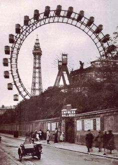 Blackpool Giant Wheel by Walter Basset, circa Blackpool Beach, Blackpool Pleasure Beach, Paris Torre Eiffel, Blackpool England, British Seaside, Beautiful Castles, Southport, Local History, England Uk