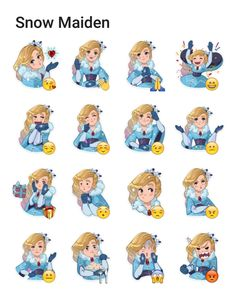 Snow Maiden Telegram sticker set Love Cartoon Couple, Snow Maiden, Telegram Stickers, Sticker Ideas, Kawaii Stickers, Line Sticker, Girls Characters, Art Challenge, Emoji