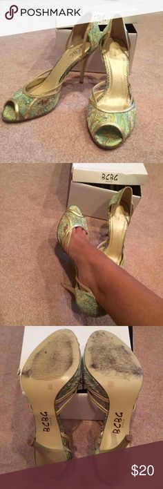 BCBG Printed Heels Beautiful green printed heels perfect for a night out. Size 8.5! Comes with original box! Original price $55  Tags: gold green heels BCBG Paris sale paisley print BCBG Shoes Heels