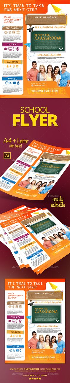 Buy School Flyer by IuliaTatar on GraphicRiver. This is a simple and clean flyer template for schools/colleges, education related business. Curriculum Night, Birthday Flyer, Flyer Printing, Ai Illustrator, Print Templates, Business Flyer, Best Part Of Me, Flyer Template, Flyer Design