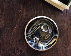 Marbled clay jewelry / ring dish trinket by HandmadeByHillaaryy