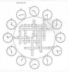 "I, 7 - Crucigrama ""¿Qué hora es?"" http://web.grinnell.edu/"