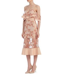 Alice McCall Crystalized Lace Midi Dress: The embroidered lace detailed on this dress has a crystalized sheen effect. Adjustable straps with cut out shoulders. Short sleeves. V neckline. Keyhole back with zip closure. Fitted through midi length where silhouette subtly flares. Lined. In blush. ...
