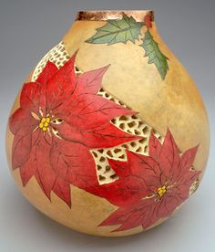 Poinsettia Gourd Pot with Filigree and Metal Leaf by Christy Barajas