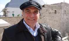 A different use for the little grey cells ... David Suchet in Jerusalem recording In the Footsteps of St Paul