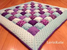 PURPLE & AQUA Bubble Quilt Puff Quilt for Baby Floor by LuvinKatie
