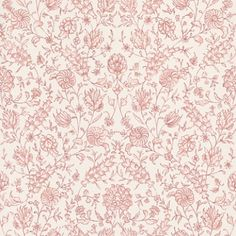 Flora (PQ009/02) - Designers Guild Wallpapers - A beautifully contemporary floral illustrated paper. Lively, densely detailed and versatile in a broad range of colours. Available in other colour ways, shown here in a reddy pink This is a paste the wall product. Please ask for sample for true colour mat