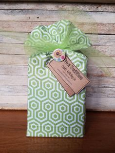 """Reusable bright green and white geometric print fabric gift bag with tulle closure and button pin for gift card.  14""""tall x 10"""" wide by GreenTraditions on Etsy"""