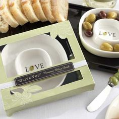 """Spread """"olive you"""" and your love for each other with these olive tray and spreader to your guests."""