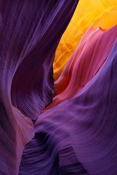 Looks like Antelope Canyon, AZ. By Brandt Campbell Beautiful World, Beautiful Places, Lovely Things, Amazing Places, All Things Purple, Shades Of Purple, Purple Gold, Pink Yellow, Amazing Nature