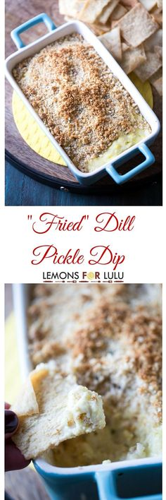 Like fried pickles? Then you will flip over this dill pickle dip! This dip has a perfect crunchy, butter topping that covers hot, gooey, pickle-y filling! This dip will be the life of the party! lemonsforlulu.com