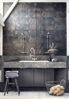 Colors - Gray Industrial Bathroom with Concrete Sink via Sara Svenningrud Industrial Bathroom Vanity, Bathroom Styling, Bathroom Interior, Modern Bathroom, Bathroom Black, Small Bathroom, Bathroom Taps, Bathroom Lighting, Industrial Interior Design
