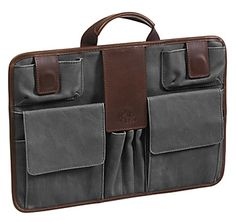 EST. 1850 CANVAS BRIEFCASE ORGANIZER - Charcoal from Johnston & Murphy