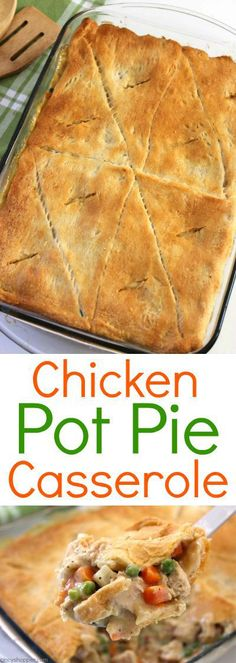 Chicken Pot Pie Casserole - Super simple weeknight family meal idea. Chicken Pot Pie Recipe Crescent Rolls, Chicken Pie Recipes, Chicken Pot Pie Crust, Quick Chicken Pot Pie Recipe, Simple Chicken Casserole, Pot Pie Recipes, Easy Turkey Pot Pie, Homemade Chicken Pot Pie, Turkey Casserole