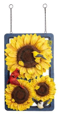 Fall Theme - Fall Birds Sunflower Design Post by Outdoor Decor. $34.99. Design posts are made of resin, wood, slate, and/or metal for durability and easy cleaning. Hang on a wall or design post holder. Makes a great gift for the first-time homeowner. Great for small front entrances or yards. Sunflowers add a vibrant pop of color to your outdoor landscape, even as your other plants and flowers begin to prepare for cooler weather. The Fall Birds Sunflower Design Post features th...