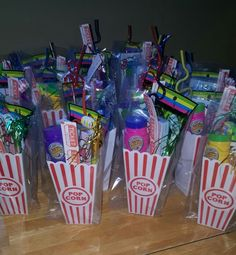 Movie theater party favors for Ava's Bday.