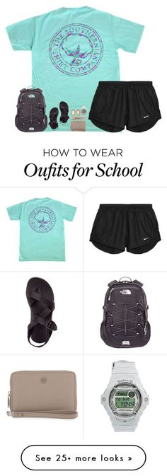 """""""I would wear this to school everyday if I could"""" by hmcdaniel01 on Polyvore featuring The North Face, NIKE, Chaco, Tory Burch, Too Faced Cosmetics, Kendra Scott and Casio"""