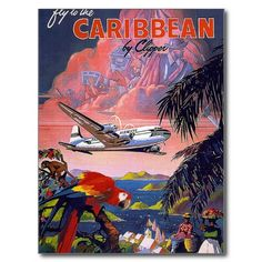 Fly To Caribbean Vintage Post Card #Postcards #Travel