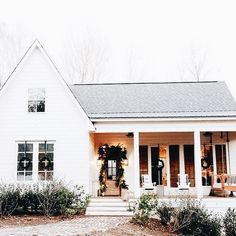Add some brown shutters to the left side of the house and this one... Beautiful!