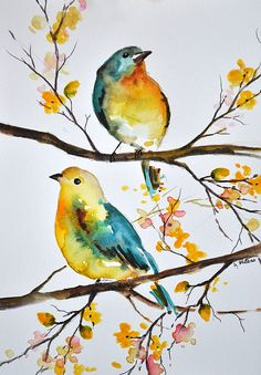 ORIGINAL Watercolor Bird Painting Colorful Aqua Blue Yellow