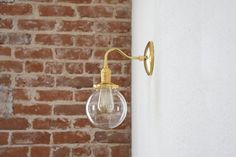 """Free Shipping! Gold Brass Wall Sconce Clear 6"""" Globe Vanity Century Industrial Modern Art Light UL Listed"""